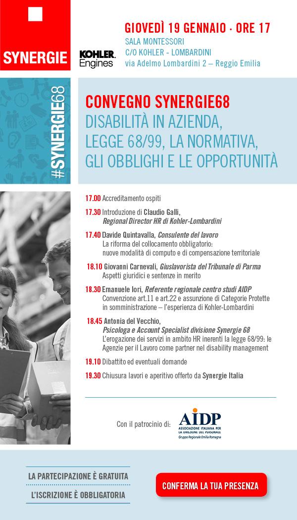 Convegno Synergie68 e AIDP 19/01/2017 a Reggio Emilia